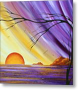Brilliant Purple Golden Yellow Huge Abstract Surreal Tree Ocean Painting Royal Sunset By Madart Metal Print
