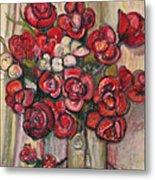 Brilliant Red Flower Oil Pastel Metal Print
