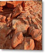 Brilliantly Colored Sandstone At Sunrise In Valley Of Fire Metal Print