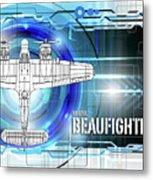 Bristol Beaufighter Blueprint Metal Print