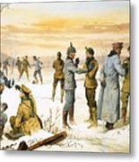 British And German Soldiers Hold A Christmas Truce During The Great War Metal Print