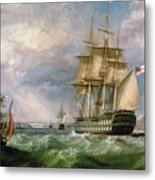 British Men-o'-war Sailing Into Cork Harbour  Metal Print
