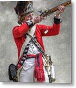 British Redcoat Firing Musket Portrait  Metal Print by Randy Steele