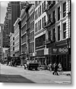 Broadway, New York In Black And White Metal Print