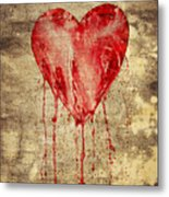 Broken And Bleeding Heart On The Wall Metal Print