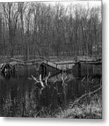 Broken Bridges In Black And White Metal Print