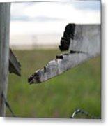 Broken Fence Stormy Skies Metal Print