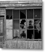 Broken Store Front Black White Metal Print
