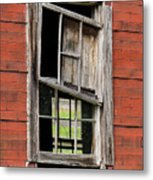 Broken Window Frame Metal Print