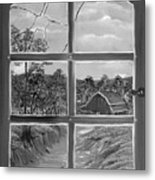 Broken Window In Black And White Metal Print