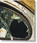 Broken Window On A Rusty Scraped Classic Car Metal Print