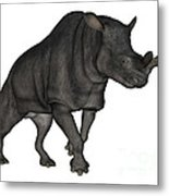 Brontotherium Isolated On White Metal Print