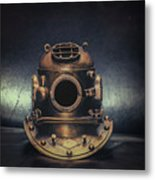 Bronze 4 Bolt Helmet Metal Print