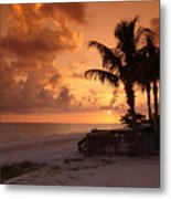 Bronze Beach Sunset Metal Print