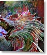 Bronze Dragon Head Metal Print