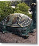 Bronze Turtle Dragon Sculpture Metal Print