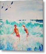 Brooke And Carey In The Shore Break Metal Print