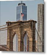 Brooklyn Bridge And One World Trade Center In New York City  Metal Print
