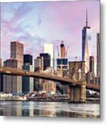 Brooklyn Bridge And Skyline At Sunrise, New York, Usa Metal Print