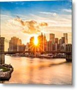 Brooklyn Bridge And The Lower Manhattan Skyline At Sunset Metal Print