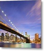Brooklyn Bridge And The Manhattan Skyline Metal Print