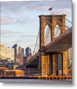 Brooklyn Bridge At Sunset Metal Print