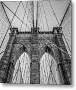 Brooklyn Bridge Goes Up Metal Print