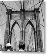 Brooklyn Bridge In Black And White Metal Print