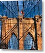 Brooklyn Bridge In The Golden Light Metal Print