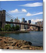 Brooklyn Bridge - New York City Skyline Metal Print