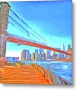 Brooklyn Bridge New York Pop Art Metal Print