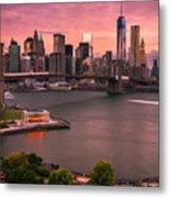 Brooklyn Bridge Over New York Skyline At Sunset Metal Print