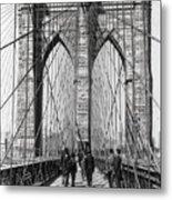 Brooklyn Bridge Promenade 1898 - New York Metal Print