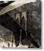 Brooklyn Bridge Reflection Abstract Metal Print