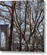 Brooklyn Bridge Thru The Trees Metal Print