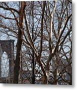 Brooklyn Bridge Thru The Trees Metal Print