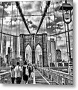 Brooklyn Bridge Walkway   B  And  W Metal Print