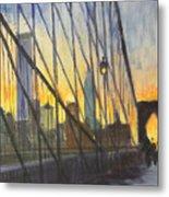 Brooklyn Bridge Wires Metal Print