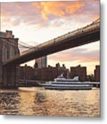 Broolylyn Bridge At Twilight Metal Print