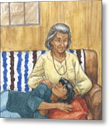 Brother Wolf - Grandmother's Lap Metal Print