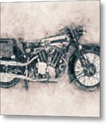 Brough Superior Ss100 - 1924 - Motorcycle Poster - Automotive Art Metal Print