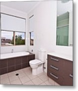 Brown And White Bathroom Metal Print