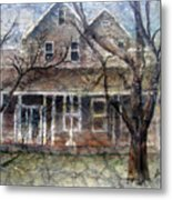 Brown Batik House Metal Print