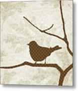 Brown Bird Silhouette Modern Bird Art Metal Print