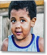 Brown Child - Paint Fx Metal Print