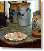 Brown Eggs And Ginger Jars Metal Print