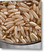 Brown Rice In Bowl Metal Print by Steve Gadomski
