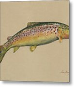 Brown Trout Jumping Metal Print