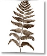 Fern Leaf Botanical Poster, Brown Wall Decor Modern Home Art Print, Abstract Watercolor Painting Metal Print