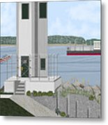 Browns Point Lighthouse On Commencement Bay Metal Print